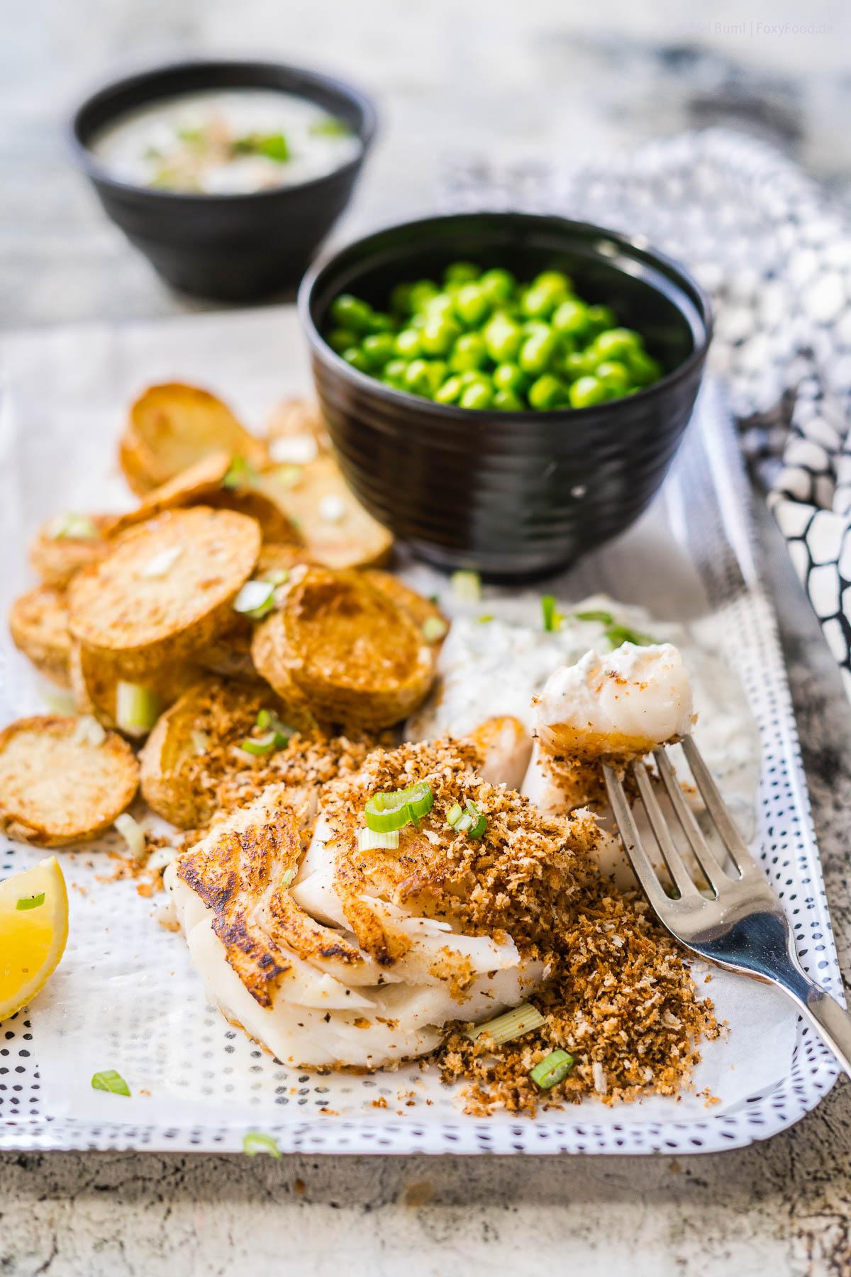 Fish and Chips light mit Erbsen und Quark-Remoulade 550 Kalorien |FoxyFood.de